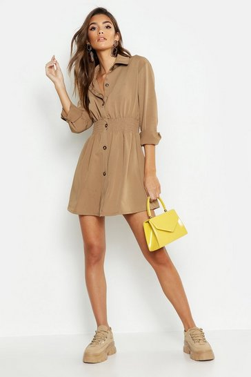 Taupe Tonal Utility Shirred Waist Shirt Dress