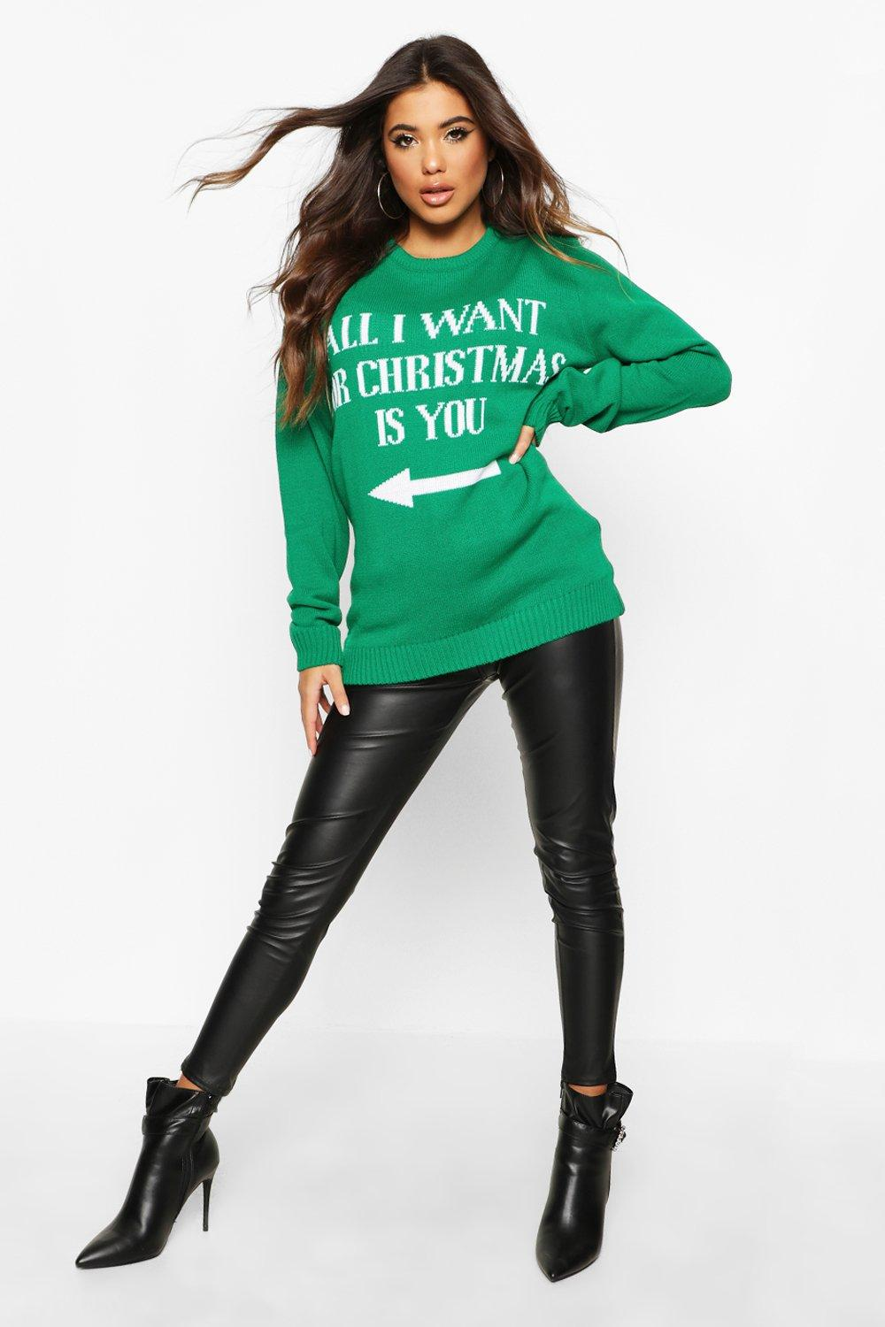 Womens All I Want For Christmas Is You - emerald - L, Emerald - Boohoo.com