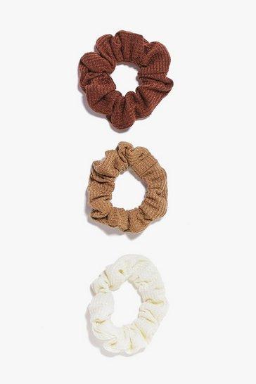 Brown 3 Pack Scrunchies