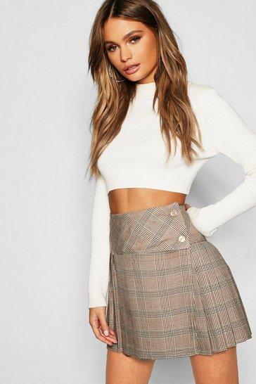 Stone Tonal Check Pleated Kilt Mini Skirt