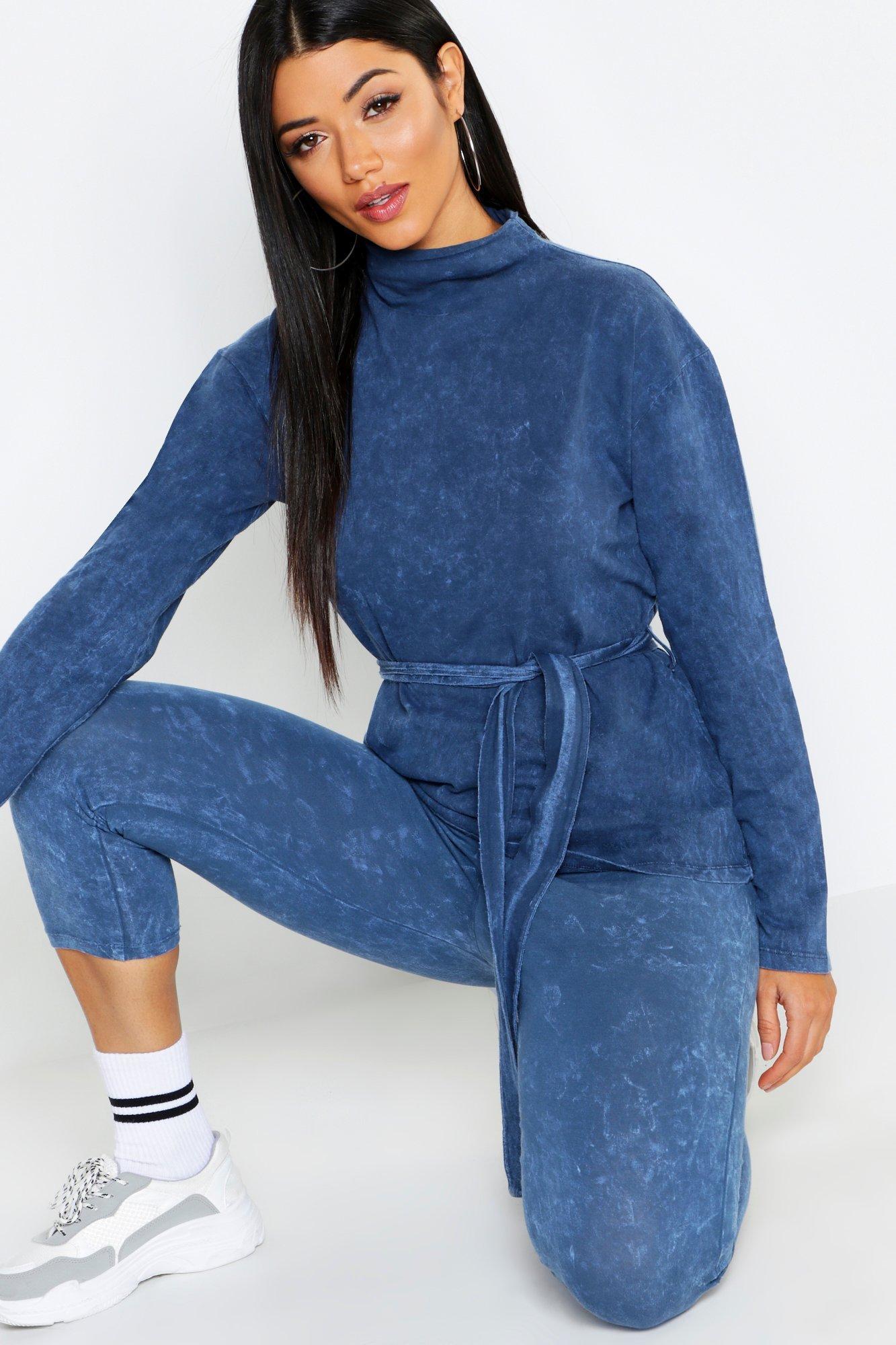 Womens langärmeliges T-Shirt mit Taillenbindung - Blau - 36, Blau - Boohoo.com