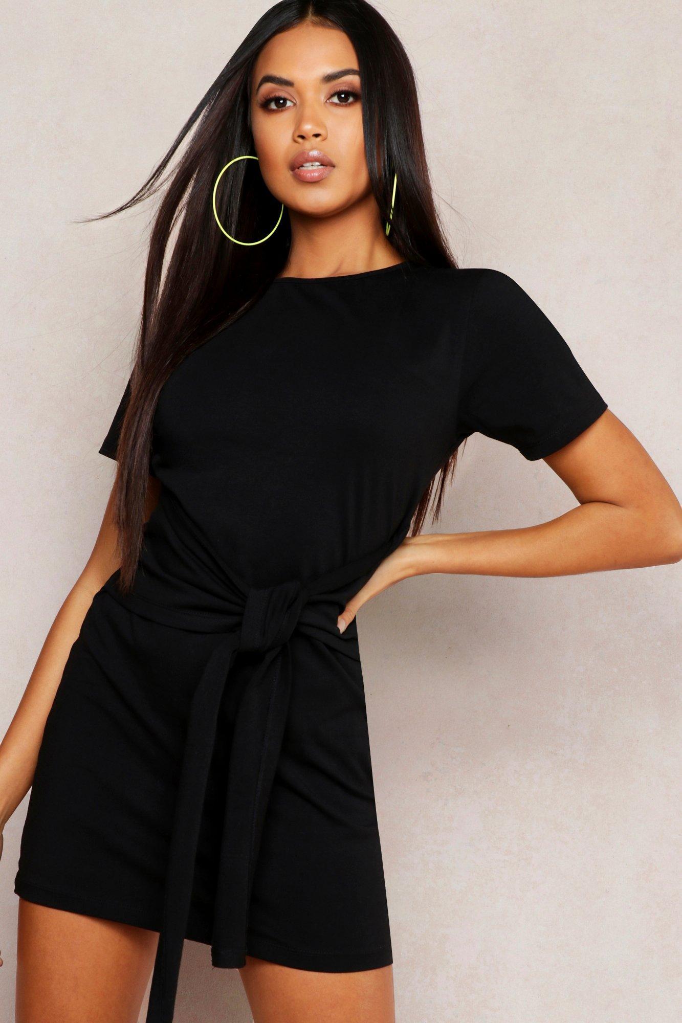 Womens T-Shirt-Kleid mit Taillenbindung - schwarz - 36, Schwarz - Boohoo.com
