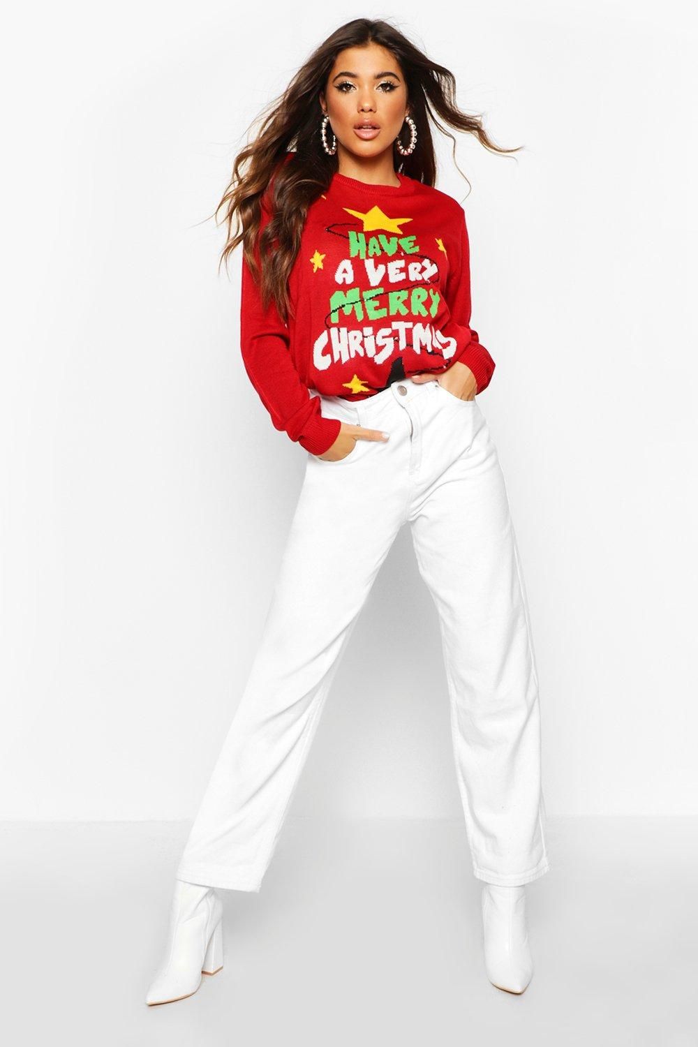 "Womens leuchtender Pullover ""Merry Christmas"" - rot - M, Rot - Boohoo.com"