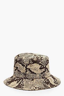 Cappello alla pescatora in finta pelle di serpente all over