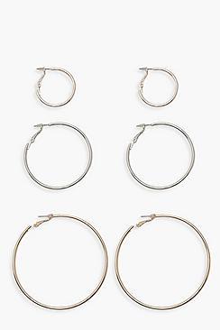 Confezione di orecchini a cerchio in metallo di diverse misure