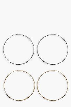 Confezione con due orecchini a cerchio oversize
