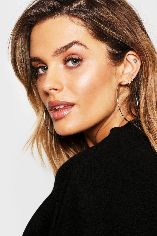 boohoo Womens Plain 6.5Cm Hoop Earrings - Grey - One Size, Grey