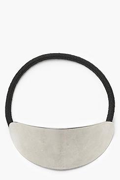 Elastico con targhetta ovale argentata