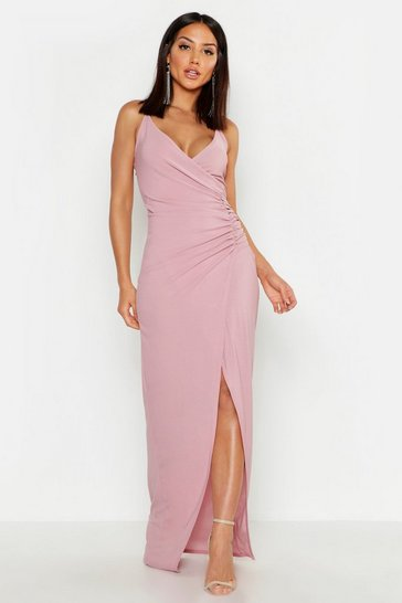 Mauve Crepe Plunge Wrap Detail Maxi Dress
