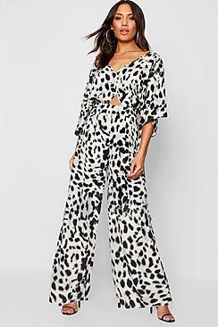 Leopard Kimono Sleeve Jumpsuit