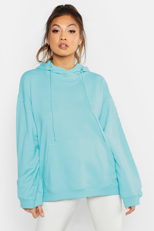 Womens lässiger Basic-Kapuzenpullover - turquoise - 32, Turquoise - Boohoo.com