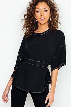 Bluse mit Kontrastnaht und Gürtel aus gleichem Stoff - Boohoo.com