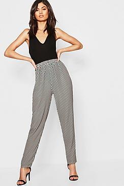 Geo Print Satin Tapered Trouser