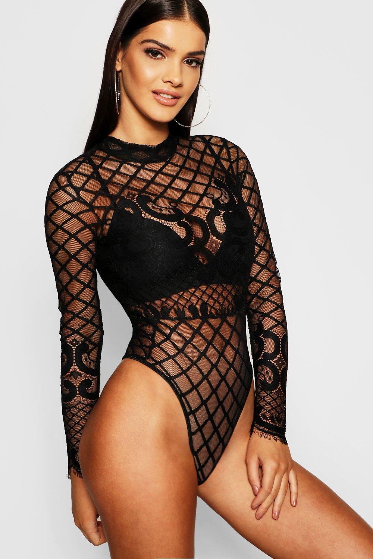 Womens Premium hochgeschlossener Body aus Spitze - schwarz - S, Schwarz - Boohoo.com