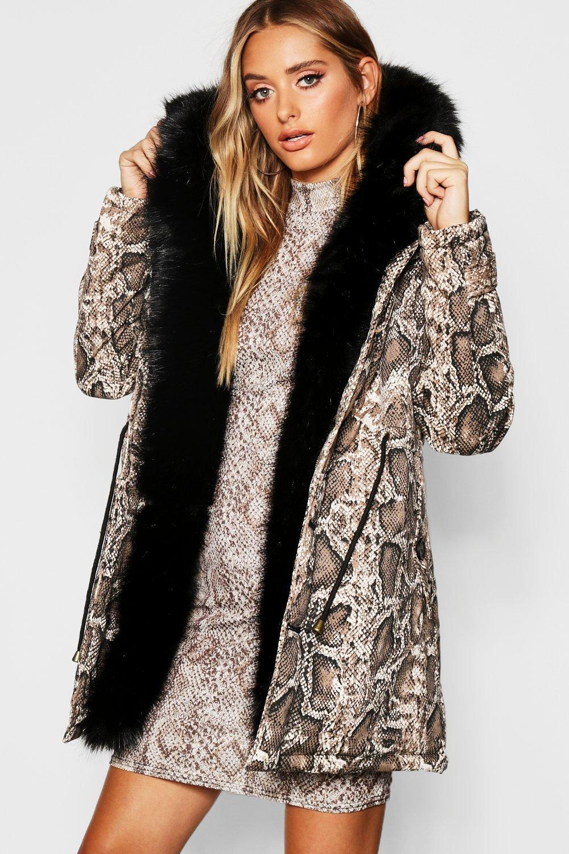 Купить Пальто и куртки, Premium Snake Print Parka With Faux Fur Trim, boohoo