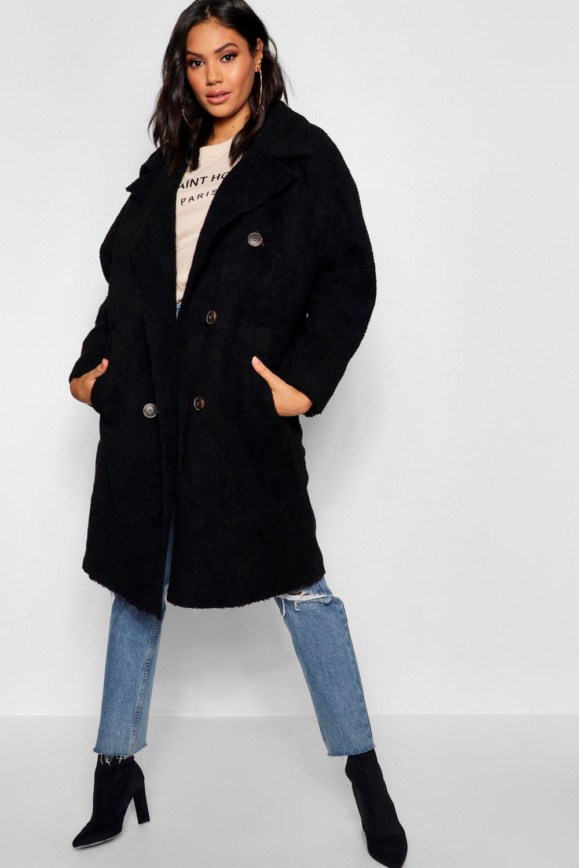 Купить Пальто и куртки, Двубортное пальто свободного кроя Teddy из искусственного меха, boohoo