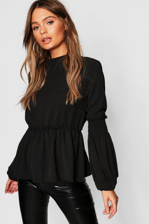 Купить Tops, Плетеные из стриженого Блуза с объемными рукавами, boohoo
