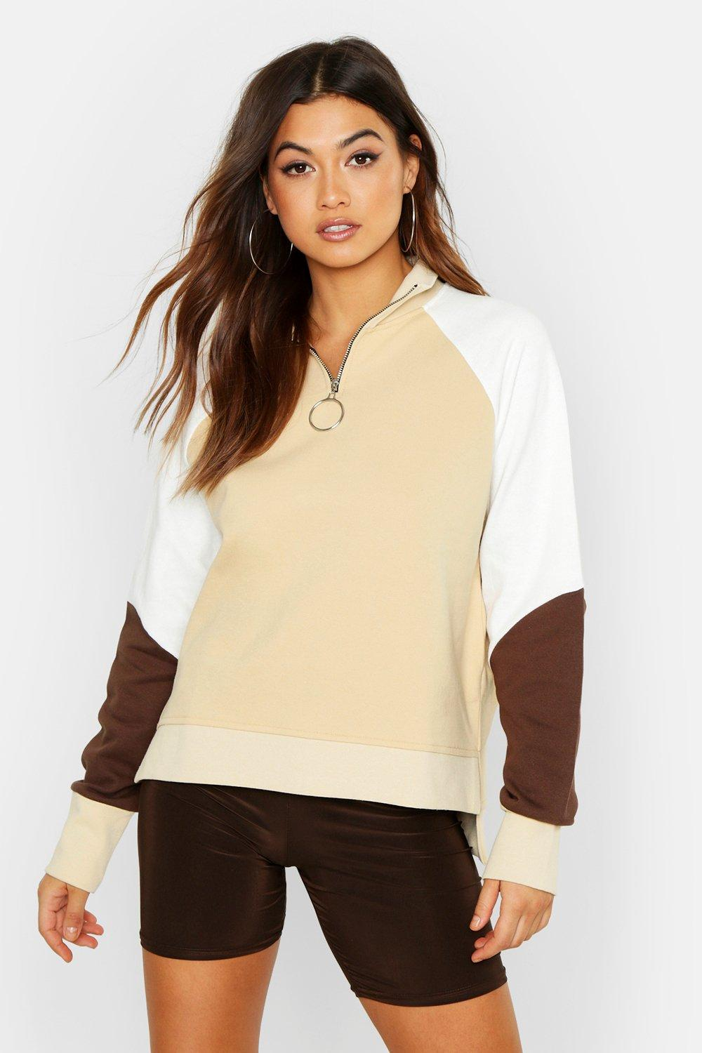 Womens Colour Block Zip Pull Oversized Sweat - stone - S, Stone - Boohoo.com