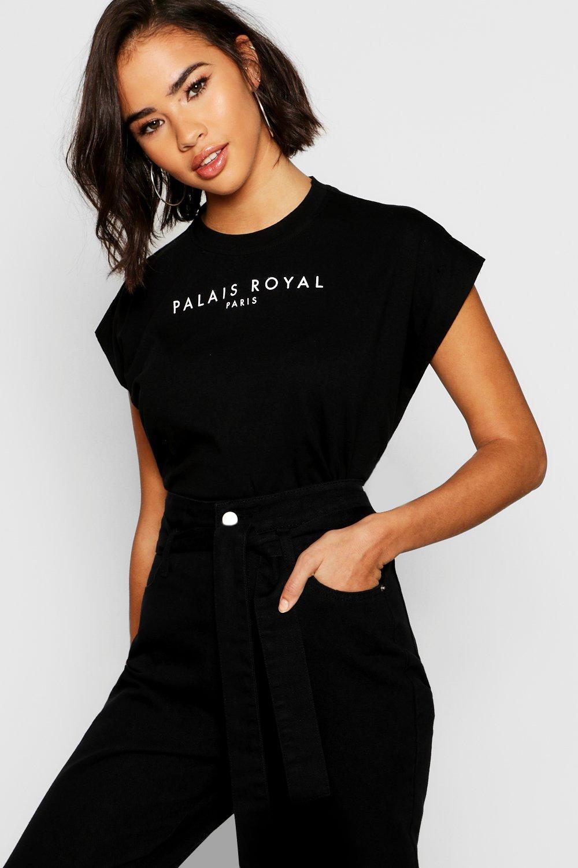 Womens T-Shirt aus Baumwolle mit Flügelärmeln und Slogan - schwarz - 34, Schwarz - Boohoo.com