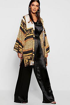 Kimono con stampa di catene in raso