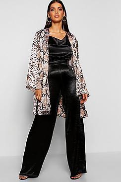Kimono con stampa effetto pelle di serpente in rasp