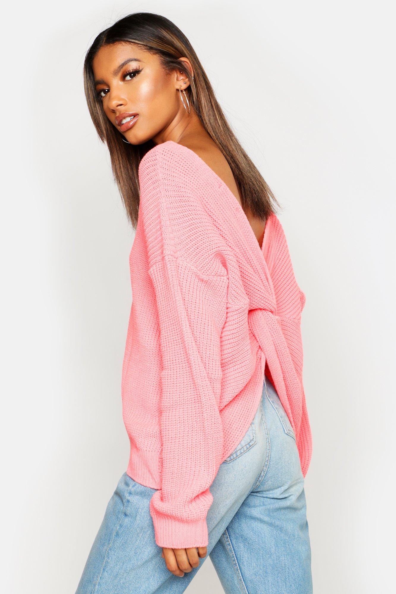 Womens Kurz Pullover mit Drehdetail - coral - S/M, Coral - Boohoo.com