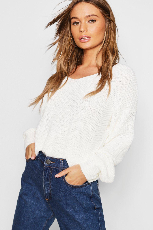 Womens Kurz Pullover mit Drehdetail - creme - S/M, Creme - Boohoo.com