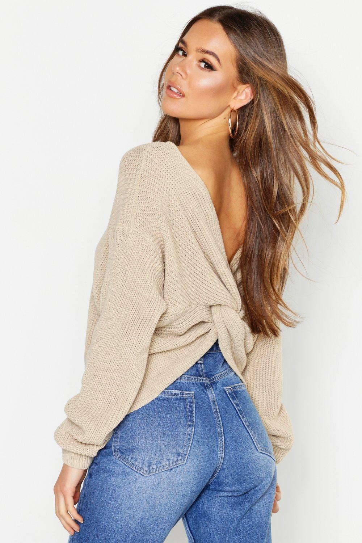 Womens Kurz Pullover mit Drehdetail - stone - M/L, Stone - Boohoo.com