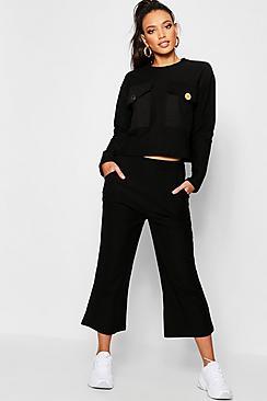 Coordinato di felpa oversize con tasca & culotte