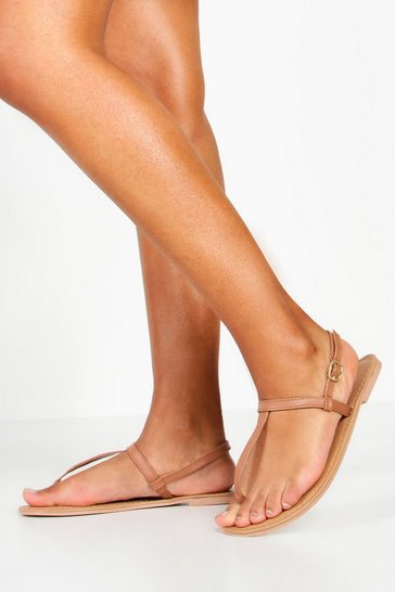 Tan Plain Toe Thong Leather Sandals
