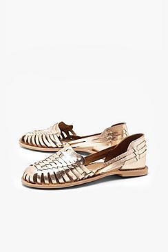 Metallic Leather Woven Ballets
