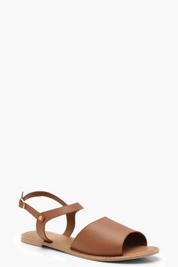 Tan Peeptoe Ankle Strap Leather Flat Mule Sandals