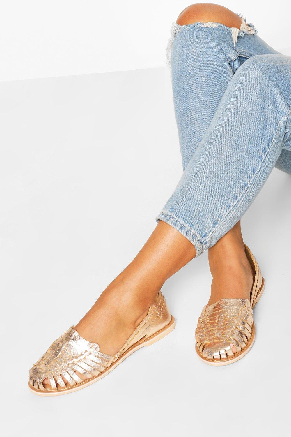 Flat Shoes Wide Fit Metallic Leather Woven Ballets