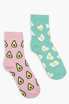Confezione di 2 calzini alla caviglia con uovo e avocado