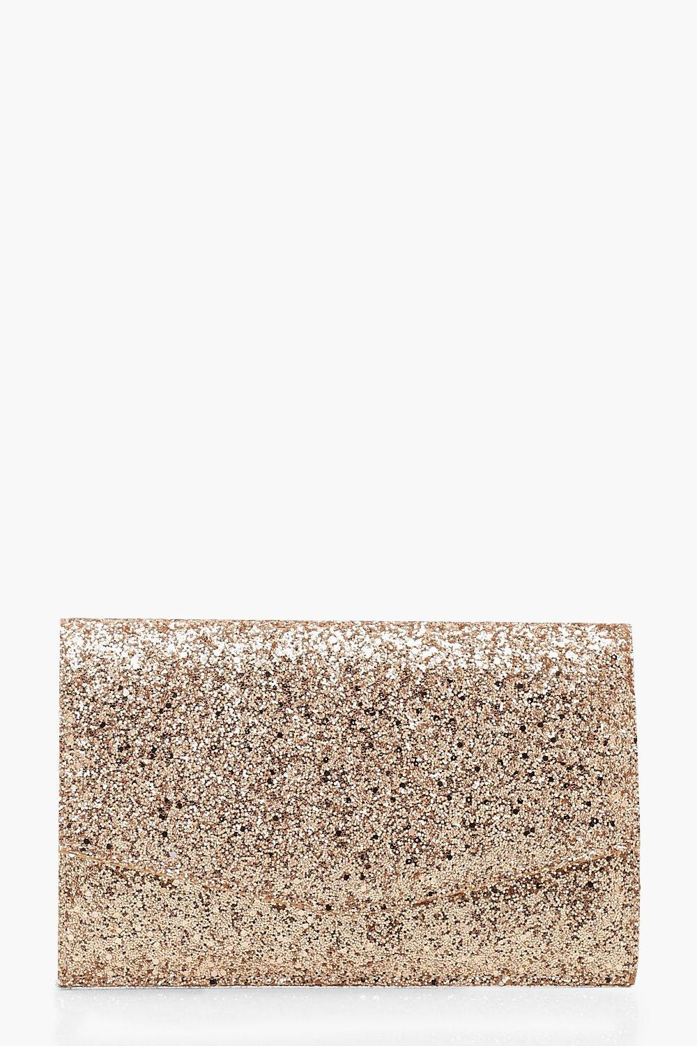 boohoo Womens Chunky Glitter Envelope Clutch Bag & Chain - Pink - One Size, Pink