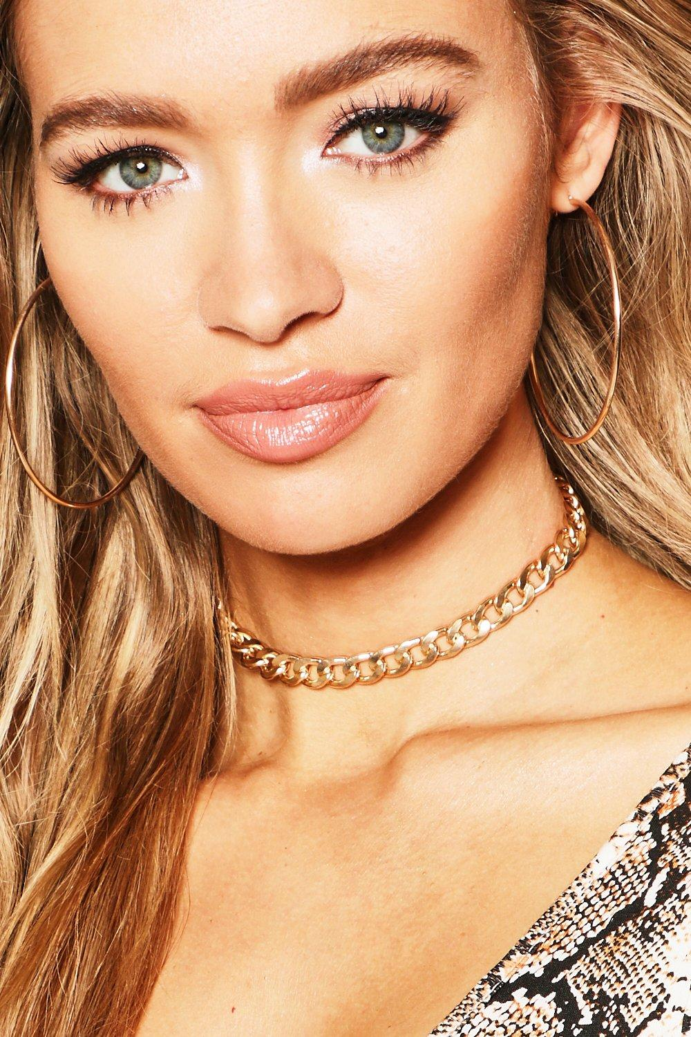 boohoo Womens Simple Chain Choker - Metallics - One Size, Metallics