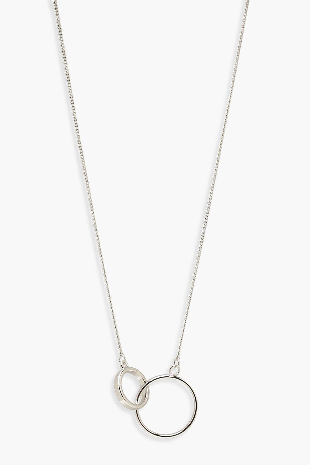 boohoo Womens Simple Circle Linked Necklace - Grey - One Size, Grey