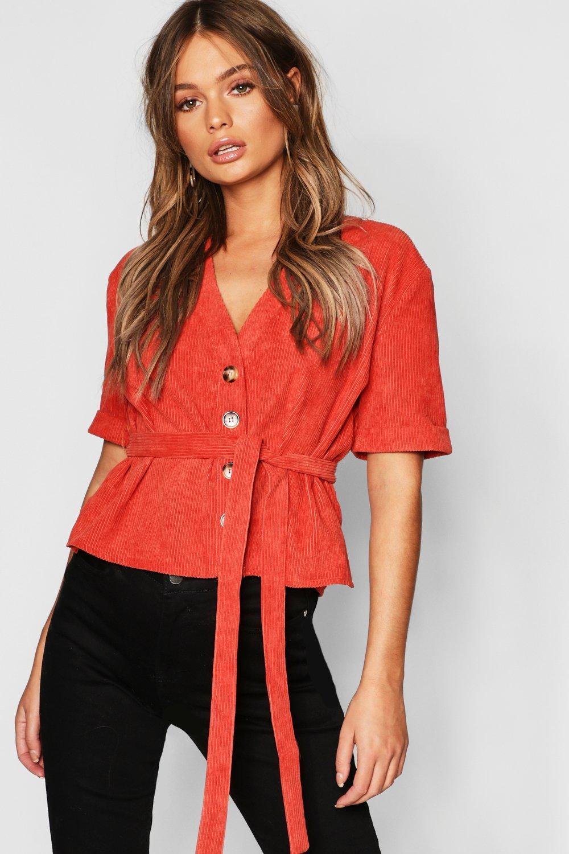 Womens Hemd aus Cord mit Gürtel und Knopfleiste - Rostbraun - 34, Rostbraun - Boohoo.com