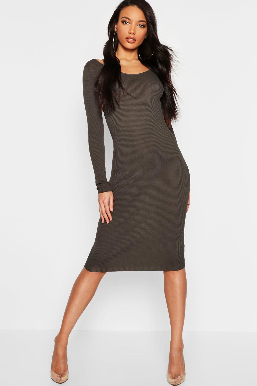 Купить Вязаные вещи, Rib Knit Scoop Neck Midi Jumper Dress, boohoo