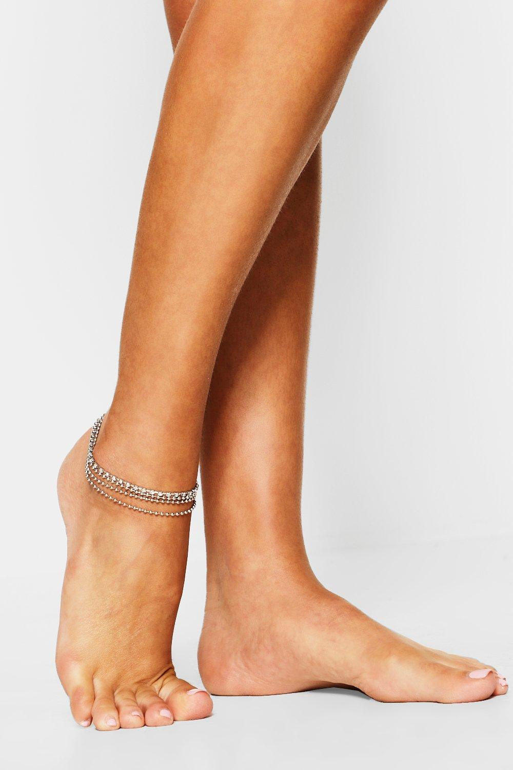 boohoo Womens Diamante Anklet - Grey - One Size, Grey
