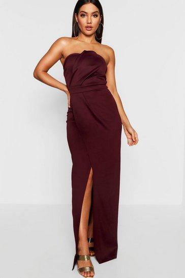 Berry Bandeau Wrap Detail Split Maxi Bridesmaid Dress