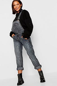 Salopette di jeans taglio rilassato rosa lavaggio pietra