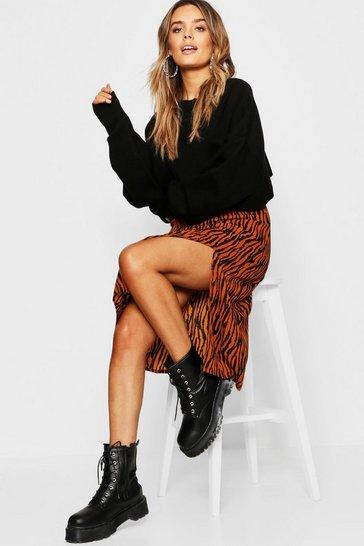 Tan Zebra Split Midi Skirt