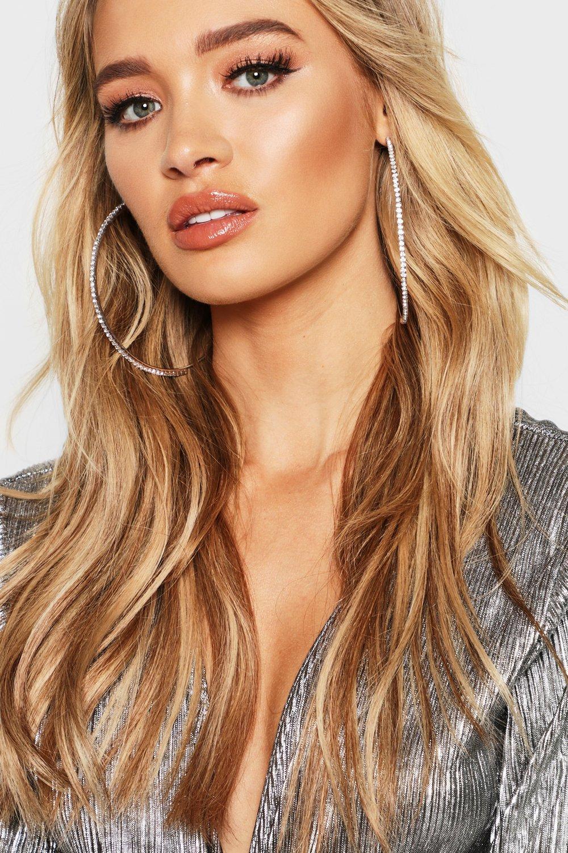 boohoo Womens 10Cm Diamante Embellished Hoop Earrings - Grey - One Size, Grey