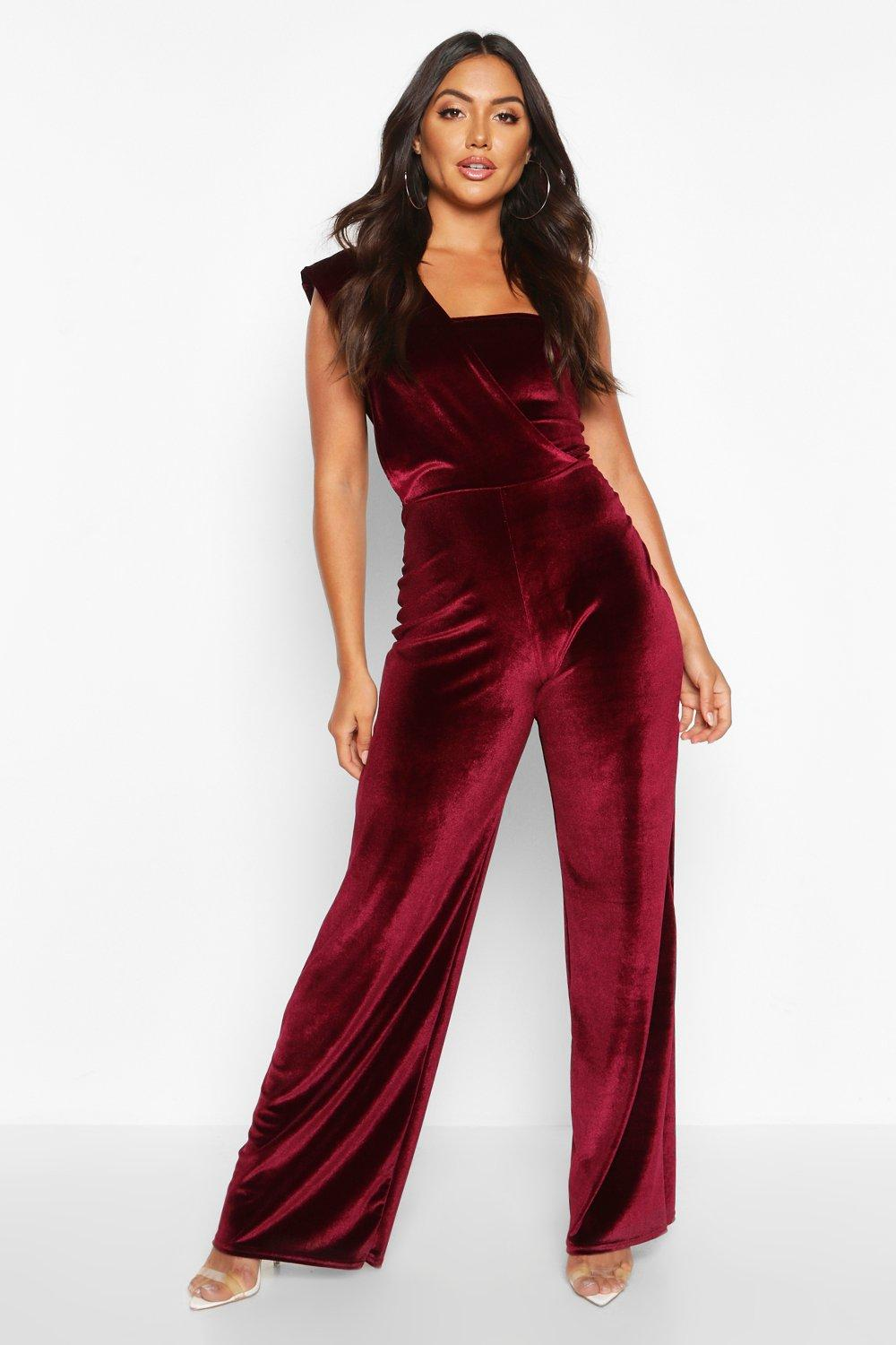 boohoo Womens Velvet Drape One Shoulder Jumpsuit - Red - 12, Red