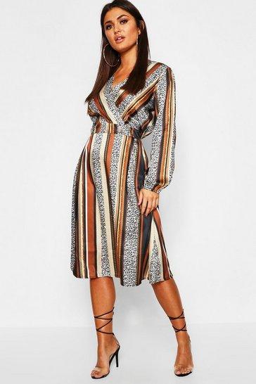 Multi Leopard Stripe Button Front Midi Dress