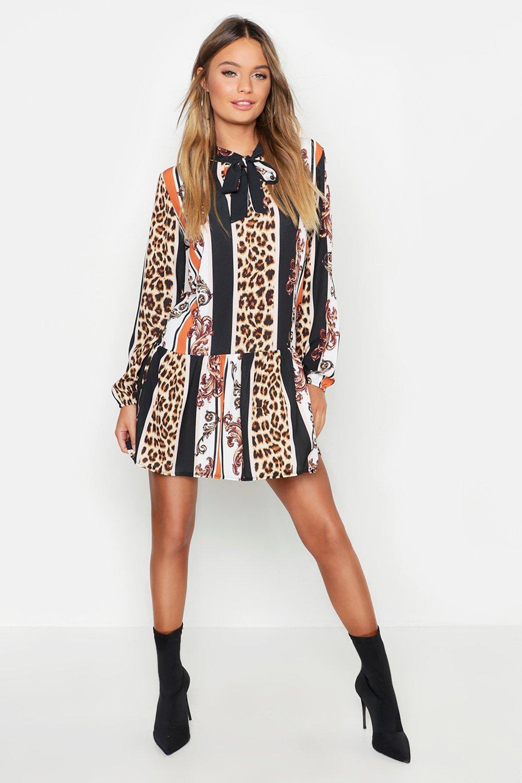 Купить Dresses, Платье со сборками с леопардовый принтом в полоску с бантом Pussy, boohoo