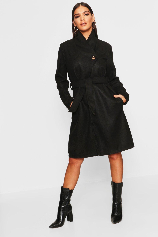 Купить Coats & Jackets, Belted Shawl Collar Wool Look Coat, boohoo