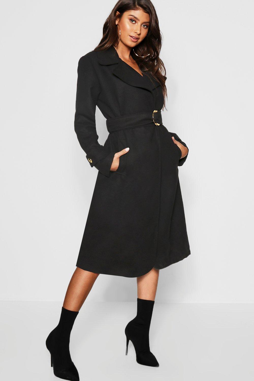 Купить Coats & Jackets, Gold Buckle Belted Wool Look Coat, boohoo