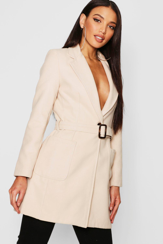 Купить Coats & Jackets, Mock Horn Buckle Belted Pocket Coat, boohoo
